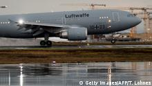 01.02.2020 *** German Air Force Airbus A310 Kurt Schumacher lands at Frankfurt am Main's airport, western Germany, with on board German citizens who have been evacuated from the Chinese city of Wuhan, epicentre of the coronavirus outbreak on February 1, 2020. - Evacuated people will be held in quarantine for two weeks at a military base in Germersheim, near Stuttgart. The Wuhan metropolis is at the heart of the SARS-like virus epidemic that has so far killed 213 people and led the World Health Organization (WHO) to declare it an international public health emergency. Numerous countries, including France, Britain, Japan and South Korea, have already begun airlifting their citizens out of Wuhan. (Photo by Thomas Lohnes / AFP) (Photo by THOMAS LOHNES/AFP via Getty Images)