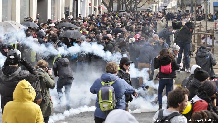 Montpellier Gelbwesten Protest Polizei