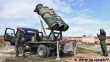 This picture taken on February 1, 2020 shows a view of a Syrian government forces' truck-mounted make-shift rocket launcher in the village of Khan Tuman, about 17 kilometres southwest of the northern city of Aleppo. (Photo by - / AFP) (Photo by -/AFP via Getty Images)