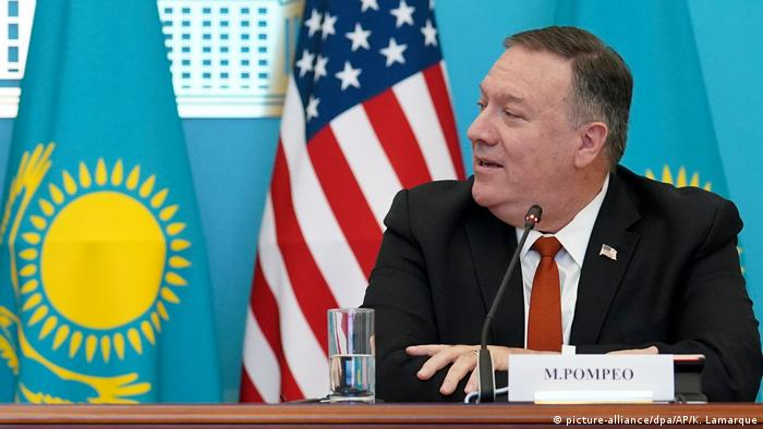 Secretary of State Mike Pompeo at a press conference in Kazakhstan