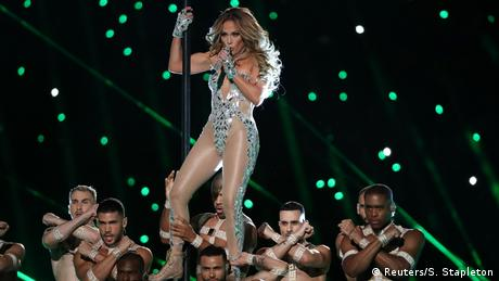 J. Lo in a sparkling dress during the Super Bowl LIV Halftime Show in 2020