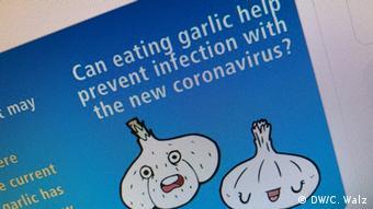 Grafik WHO - Kann Knoblauch der Infektion mit dem Coronavirus vorbeugen?