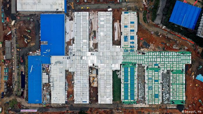 Aerial image of the new hospital in Wuhan