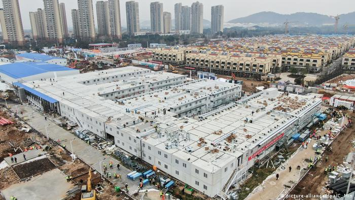 Aerial view of Huoshenshan Hospital outside of Wuhan.