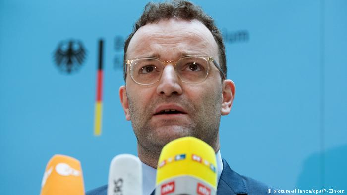 German Health Minister Jens Spahn speaking at a press conference about coronavirus