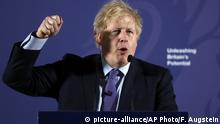 British Prime Minister Boris Johnson outlines his government's negotiating stance with the European Union after Brexit, during a key speech at the Old Naval College in Greenwich, London, Monday, Feb. 3, 2020. (AP Photo/Frank Augstein) |