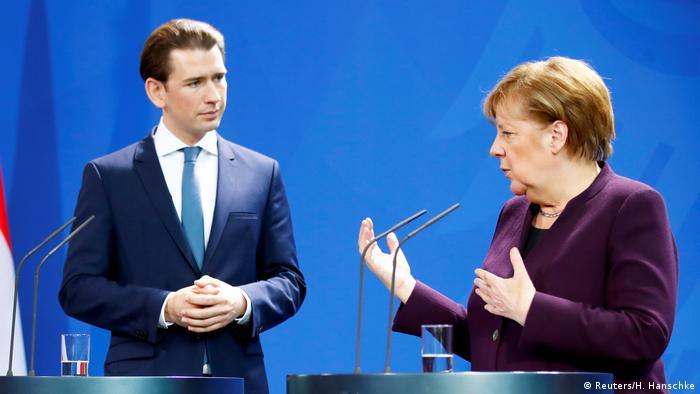 Sebastian Kurz y Angela Merkel