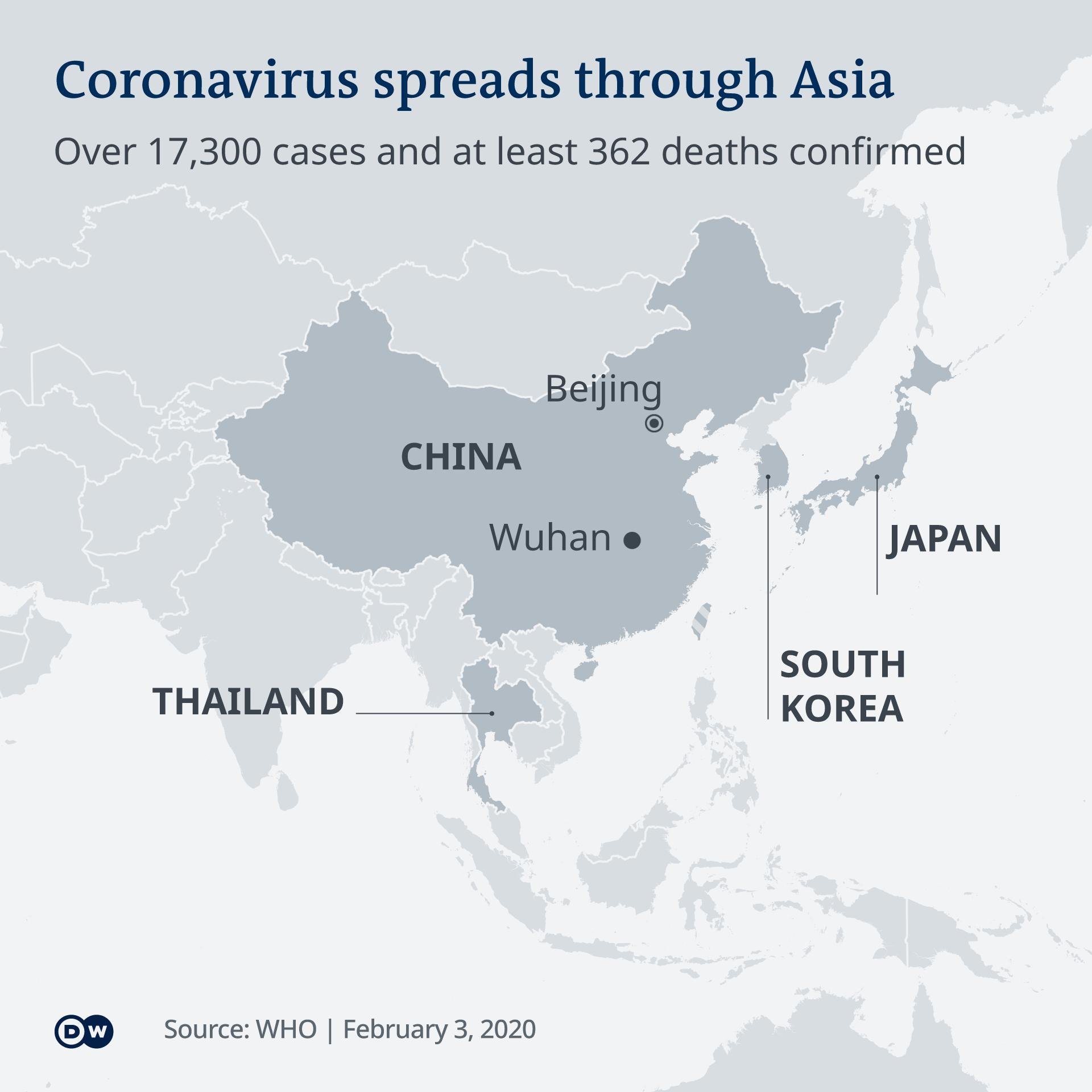 Infografik Karte Coronavirus Verbreitung Feb 2020 EN