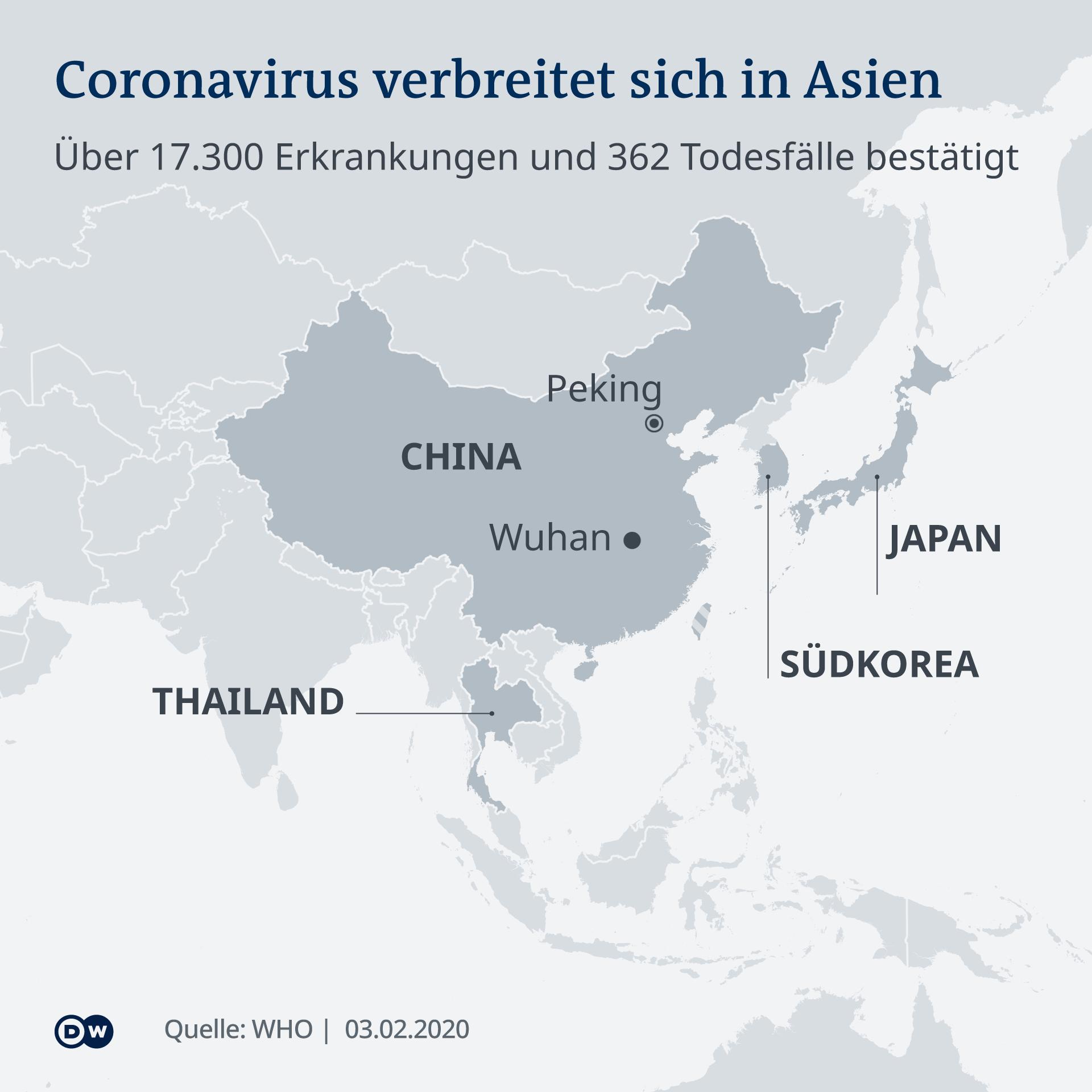 Carte infographique propagation du coronavirus février 2020 DE