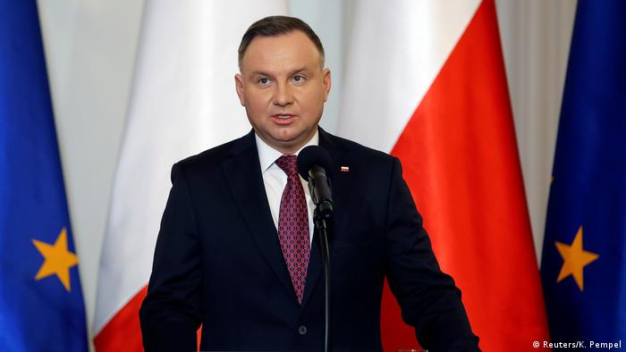 Polish President Andrzej Duda speaks during a news conference