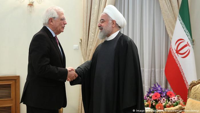 Avrupa Birliği Dış İlişkiler ve Güvenlik Politikaları Yüksek Temsilcisi Josep Borrell ve İran Cumhurbaşkanı Hasan Ruhani