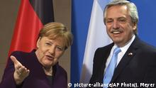 03.02.2020 Argentina's President Alberto Fernandez, right and German Chancellor Angela Merkel attend a press conference after their talks, in Berlin, Germany, Monday, Feb. 3, 2020. (AP Photo/Jens Meyer) |