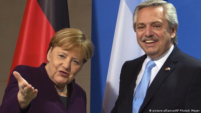 La canciller alemana, Angela Merkel, y el presidente argentino, Alberto Fernández, en Berlín. (3.02.2020).