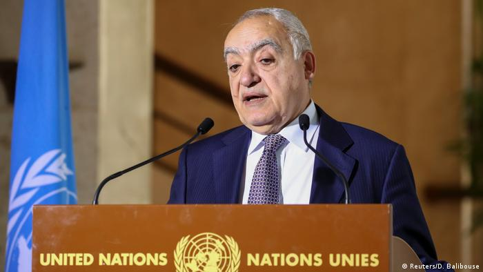 Ghassan Salame during a press conference in Geneva, Switzerland