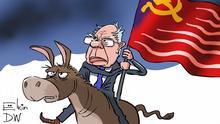 DW Karikatur l Senator Bernie Sanders hat sich zum Sieger der ersten demokratischen Vorwahl in Iowa erklärt.