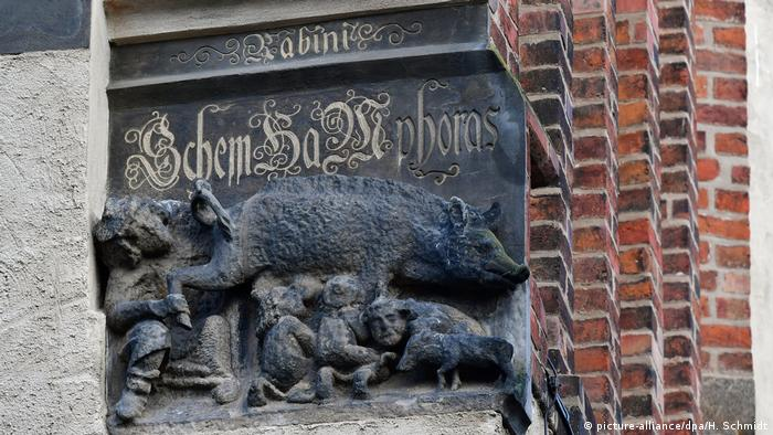 The offensive relief outside the Stadtkirche in Wittenberg