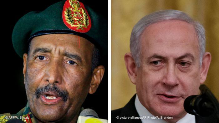 Kombobild Abdel Fattah al-Burhan und Benjamin Netanjahu