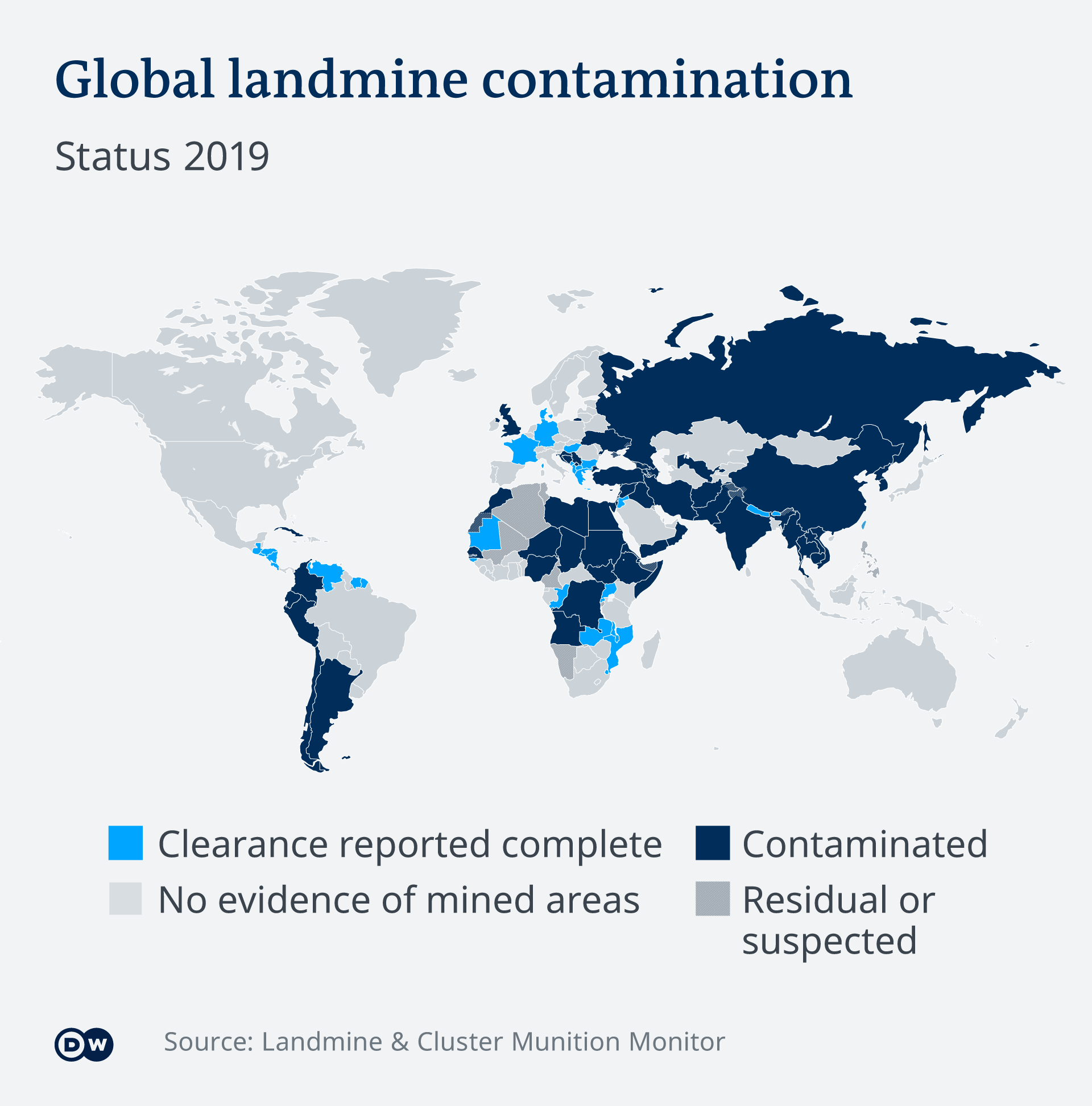 A graphic showing where landmines are still believed to be present, as of 2019. Data from the Landmine and Cluster Munition Monitor organization.