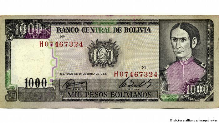 Juana Azurduy de Padilla en un billete de 1.000 pesos de Bolivia.