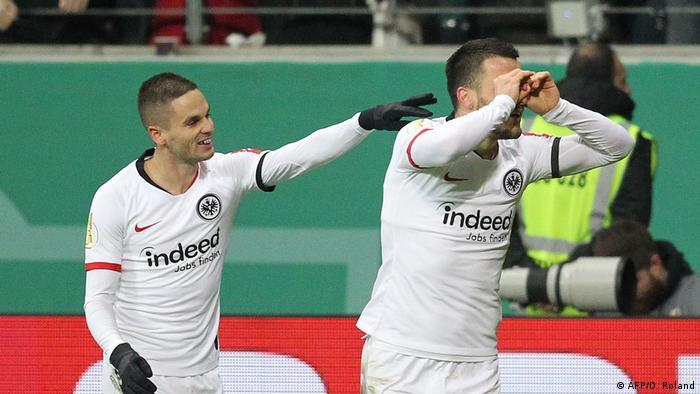 Eintracht Frankfurt's Filip Kostic celebrating a goal