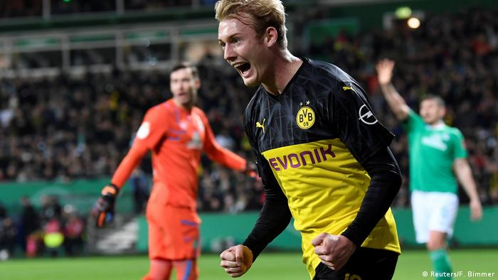 Julian Brandt celebrating Erling Haaland's goal