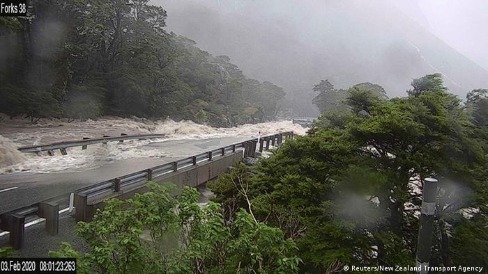 Flooded highway in Southland, New Zealand