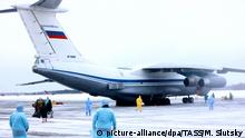 05.02.2020, Russland, Tyumen: TYUMEN REGION, RUSSIA - FEBRUARY 5, 2020: An Ilyushin IL-76 plane of the Russian Aerospace Forces carrying Russian and foreign citizens from the Chinese city of Wuhan at Roshchino International Airport. Evacuated people are to be accommodated at a rehabilitation center near Tyumen. Maxim Slutsky/TASS Foto: Maxim Slutsky/TASS/dpa  