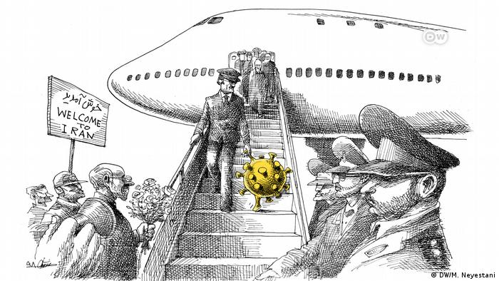 A cartoon with a coronavirus being helped down a plane to Iran