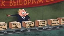 Karikatur Sergey Elkin Russland Parlamentswahlen