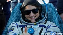 NASA astronaut Christina Koch sits in a chair shortly after landing of the Russian Soyuz MS-13 space capsule in a remote area southeast of Zhezkazgan in the Karaganda region of Kazakhstan, February 6, 2020. Sergei Ilnitsky/Pool via REUTERS