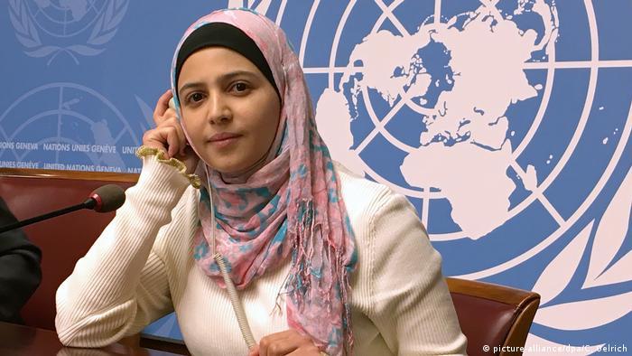 Muzoon Almellehan bei den Vereinten Nationen in Genf.