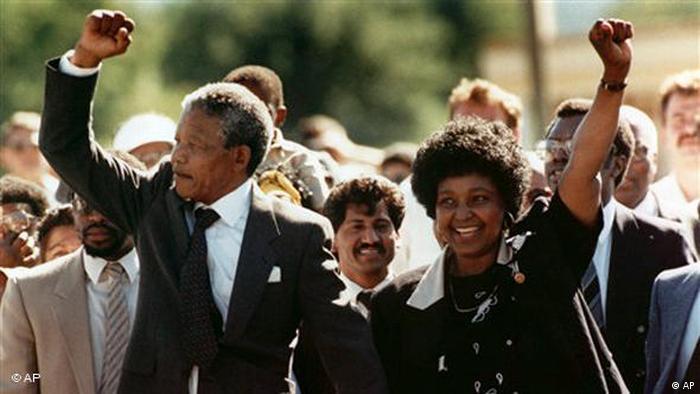 Mandela and his ex-wife Winnie Madikizela-Mandela (AP)