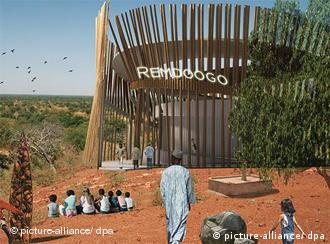 A computer-generated image of Christoph Schlingensief's planned opera village in Burkina Faso