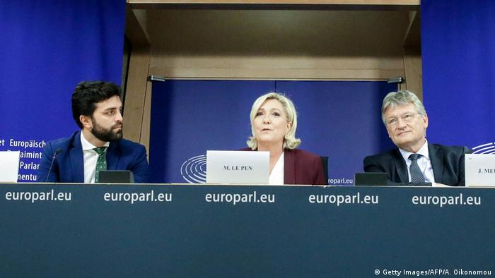 Marco Zanni, Marine Le Pen and Jörg Meuthen