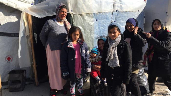 Refugee family in Moria camp on Lesbos, Greece
