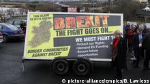 31.01.2020 *** Brexit. Sinn Fein deputy leader Michelle O'Neiil attends the unveiling of a Border Communities Against Brexit poster at a demonstration in Carrickcarnon on the Irish border, ahead of the UK leaving the European Union at 11pm on Friday. Picture date: Friday January 31, 2020. See PA story POLITICS Brexit Ireland. Photo credit should read: Brian Lawless/PA Wire URN:49986512 |