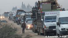 Syrien Flüchtlingskonvoi bei Sarmada in der Provinz Idlib