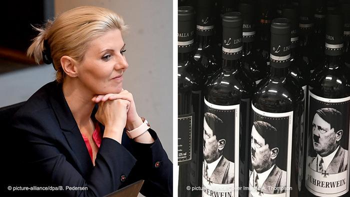 Bildkombo l AfD Jessica Bießmann und Führerwein Hitlerwein aus Italien