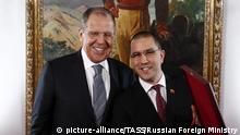 07.02.2020, Venezuela, Caracas: CARACAS, VENEZUELA - FEBRUARY 7, 2020: Russia's Foreign Minister Sergei Lavrov (L) and his Venezuelan counterpart Jorge Arreaza exchange gifts during a meeting. Russian Foreign Ministry/TASS Foto: Russian Foreign Ministry/TASS/dpa |