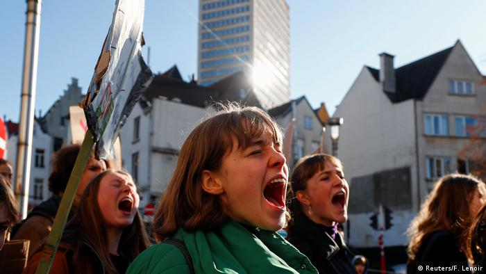 Belgian climate activists yelling