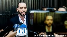 March 28, 2018 - San Salvador, El Salvador - Salvadoran president-elect NAYIB BUKELE gave a brief press conference before entering the Specialized Court of Sentencing for crimes against women. BUKELE is accused of insulting and throwing an apple at the former Municipal Trustee of San Salvador |