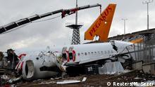 Türkei Wrackteile des Pegasus Airlines Boeing 737-86J in Sabiha Gokcen Flughafen, Istanbul