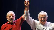 Brazil's former president Luiz Inacio Lula da Silva and Uruguay's former President Jose Mujica attend celebrations marking the 40th anniversary of the founding of the Workers Party in Rio de Janeiro, Brazil February 8, 2020. REUTERS/Macelo Carnaval