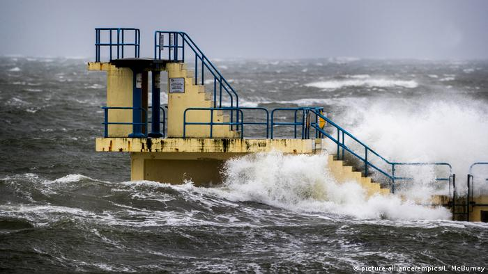 Blackrock Diving Tower in Salthill Co. Galway is battered by waves