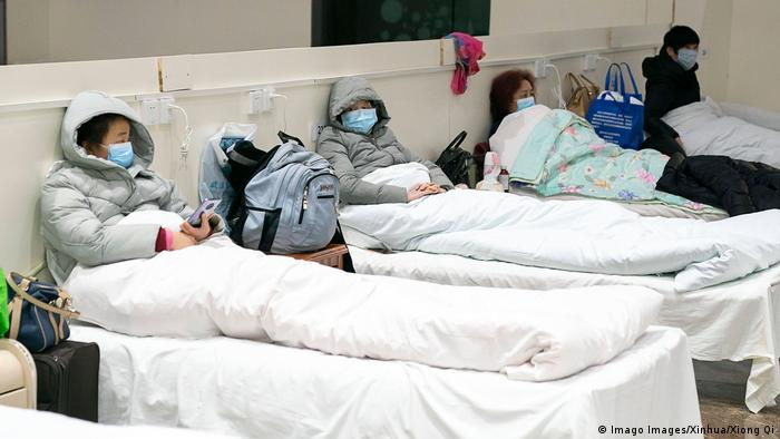 China Wuhan Coronavirus-Patienten in provisorischem Krankenhaus