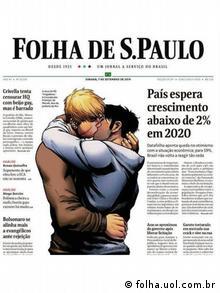 Capa do jornal 'Folha de S. Paulo' mostra dois homens se beijando