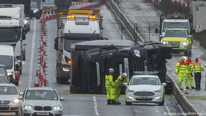 A truck overturned on a highway in the UK