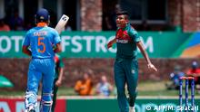 09.02.2020 *** Bangladesh's Avishek Das (R) celebrates after the dismissal of India's Kartik Tyagi (L) during the ICC Under-19 World Cup cricket finals between India and Bangladesh at the Senwes Park, in Potchefstroom, on February 9, 2020. (Photo by MICHELE SPATARI / AFP)
