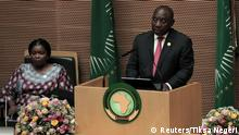 February 9, 2020*** Cyril Ramaphosa, South Africa's President and incoming Chairperson of the African Union (AU), addresses the opening of the 33rd Ordinary Session of the Assembly of the Heads of State and the Government of the African Union (AU) in Addis Ababa, Ethiopia, February 9, 2020. REUTERS/Tiksa Negeri