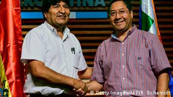 Evo Morales e Luis Arce, em foto de janeiro de 2020